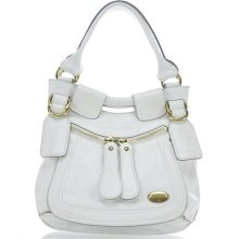 Chloe Leather Large Bay Satchel Tote Bag Purse White