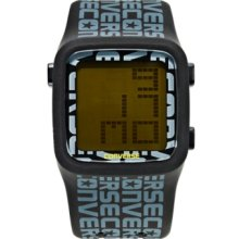 Converse Watch, Unisex Digital Scoreboard Printed Logo Black Silicone