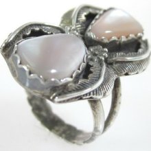 Designer Sterling Silver Faceted Mother Of Pearl Floral Cocktail Ring Size 7