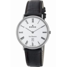 Edox Watch White Face Leather Strap Les Genevez Rrp£575