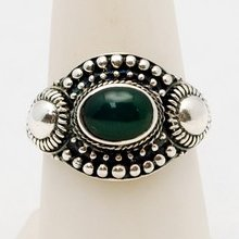 Estate Sterling Silver Beaded Style W/ Green Stone Design Ring Size 8 S370