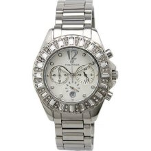 Folli Follie Baguette Chronograph Stainless Steel Crystal Watch,