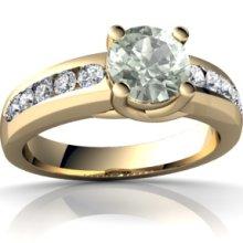 Genuine Green Amethyst 14K Yellow Gold Ring