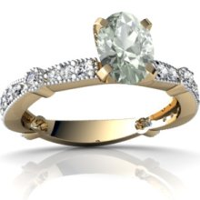 Genuine Green Amethyst 14K Yellow Gold Ring - Size 6.5