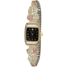 Gold Colorful Of 12k Gold Leaves and Elegant Ladies Watch with Diamond Accent Sparkles