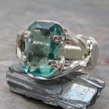 Green Fluorite Faceted Sterling Silver Wire Wrapped Gemstone Ring Size 7.5