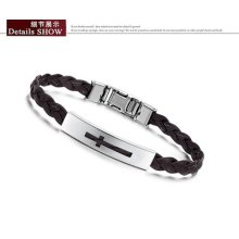 Hot Fashion Stainless Steel Pu Leather Bracelet Chain Bangle Hand Chain