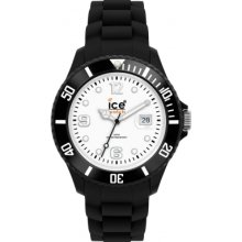 Ice-watch Si.bw.b.s Unisex Big White Dial Black Silicon Strap Watch Rrp £8