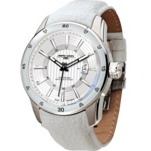 Jorg Gray 3700 Circle And Stripe Steel Watch - White Dial, White Leather Strap