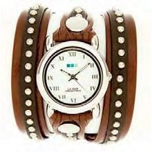 La Mer Collections Brown and Silver Bali Stud Watch