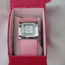 Ladies Square Face Watch Wide Surround Pink Strap