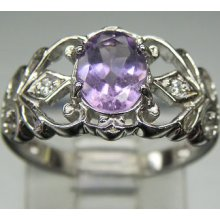 Lovely Sterling S Oval Amethyst White Crystals Accents Open Swirl Design Ring