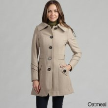- M60 Miss Sixty Women's Belted Wool Coat Oatmeal Size: Large