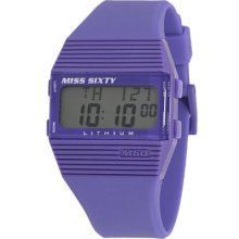 Miss Sixty Ladies Watch Sic002 In Collection Pyramidal With Digital Display And Violet Strap