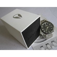 Nixon Wrist Watch The Capital All Silver / Black 100m Stainless Steel Men's +box