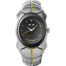 Oakley Mens Livestrong Special Edition Analog Titanium Watch - Silver Bracelet - Carbon Fiber Dial - 10-048