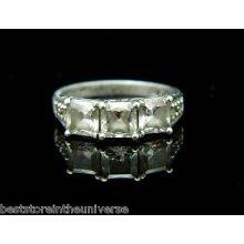 Ornate 925 Sterling Silver Silver Cubic Zirconia Cz Rhinestone Ring Size 6.75