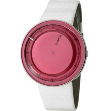 Philippe Starck Watches Women's Pink Dial White Leather White Leather