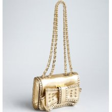 Rebecca Minkoff gold metallic leather 'Mini Sweetie' studded bow shoulder bag