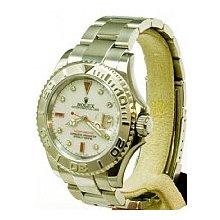 Rolex Mens Yachtmaster Stainless Steel & Platinum White MOP Diamonds & Rubies Dial/Original Platinum Bezel/Original Oyster Flip-Lock Bracelet