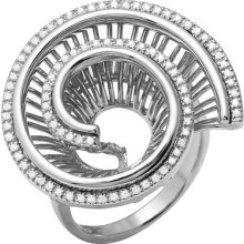 Round Cubic Zirconia Micro Pave Set In 925 Sterling Silver Unique Ring Size 6.5