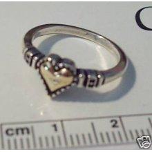 Size 9 14k Gold Heart & Sterling Silver Fancy Ring