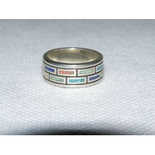 Southwestern Sterling Silver & Multi Color Turquoise Ring Marked 925 Wj Size 6.5