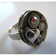 Steampunk No. 1126 Vintage Watch Movement Adjustable Ring with Heart and AB Swarovski Crystal