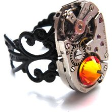 Steampunk Ring - Vintage Clockwork Watch Movement & Swarovski Crystal - Ring Of Fire