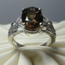 Sterling Silver Genuine Smoky Quartz Butterfly & Leaves Motif Ring