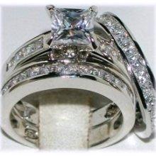 Sterling Silver Princess Cut Cz 3 Ring Wedding Engagement Set Sz 6 9 8 7