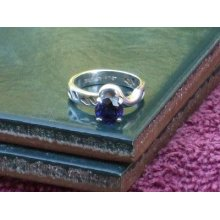 Sterling Silver Qvc Dark Blue Cubic Zirconia Ring Size 5