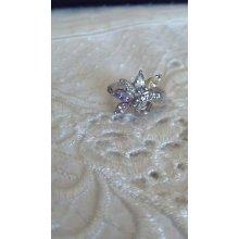 Sterling Silver Ring W/ Topaz, Amethyst, Citrin, Aquamarine, Diamonds Size 6.5