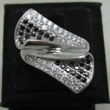 Stylish Sterling Silver Ring Solid 925 White And Black Cz