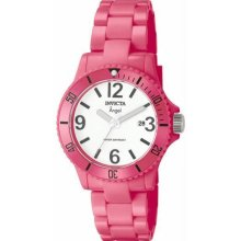 Women's Angel Pink Plastic Resin Case and Bracelet White Tone Dial Date Display