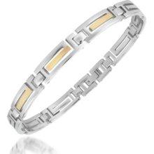 Zoppini Designer Men's Bracelets, Zo-Chain Stainless Steel and 18K Gold Link Bracelet