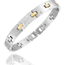 Zoppini - Zoppini Zo-Chain Brushed Stainless Steel and 18K Gold Link Bracelet