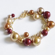 2 in 1--Bracelet and Necklace with Swarovski pearls--June birthstone, gold autumn. B011