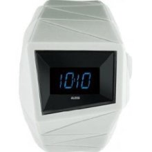 Alessi Unisex Daytimer Digital Plastic Watch - White Rubber Strap - Black Dial - AL22004