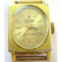Awesome Vintage Rolex Tudor Square Winding Watch 20 M Gold Sun Burst Plaque
