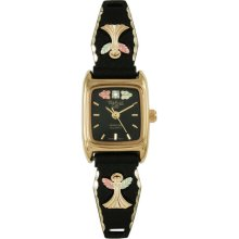 Black Hills Gold by Coleman Ladies Black Coated Angel Watch