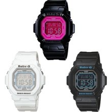 Casio Baby-g Digital Alarm Chronograph World Time White Black Pink Ladies Watch