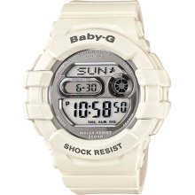 Casio Bgd141-7 Women's Baby-g Grey Lcd Dial White Resin Strap World Time Watch