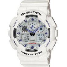 Casio G-shock Ga100-7 Mens X-large White Blue Ana-digital Sport Watch