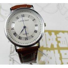 Classic Casual Coffee Men's Dial Quartz Wrist Watches Hour Clock Bracelet