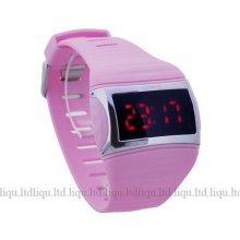 Digital Red Led Womens Ladies Pink Waterproof Quartz Sports Wrist Watch Ff
