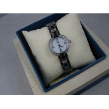 Esq Neve Lady's Dress Watch Silver Tone 07101070 Diamond Mother Of Pearl Dial