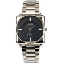 Eton Men's Quartz Watch With Black Dial Analogue Display And Silver Bracelet 3011G-Cb
