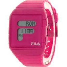 Fila Ladies Lcd Watch With Pink Pu Strap Official Stockist (rrp£60)