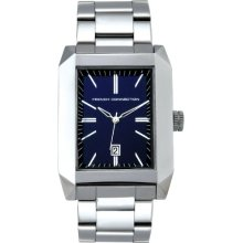 French Connection Men's Quartz Watch With Blue Dial Analogue Display And Silver Stainless Steel Bracelet Fc1032u